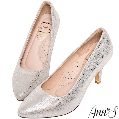 Ann'S輕熟名媛3D氣墊閃耀羊皮尖頭高跟鞋-銀