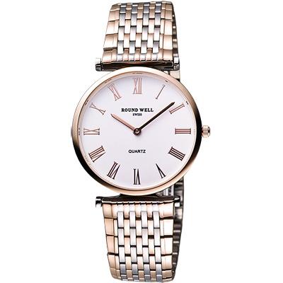 ROUND WELL 超薄經典羅馬腕錶-白/半金/33mm