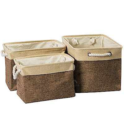 PINUS 日系簡約風 棉麻收納籃 收納袋 1717018 (咖啡 3入)