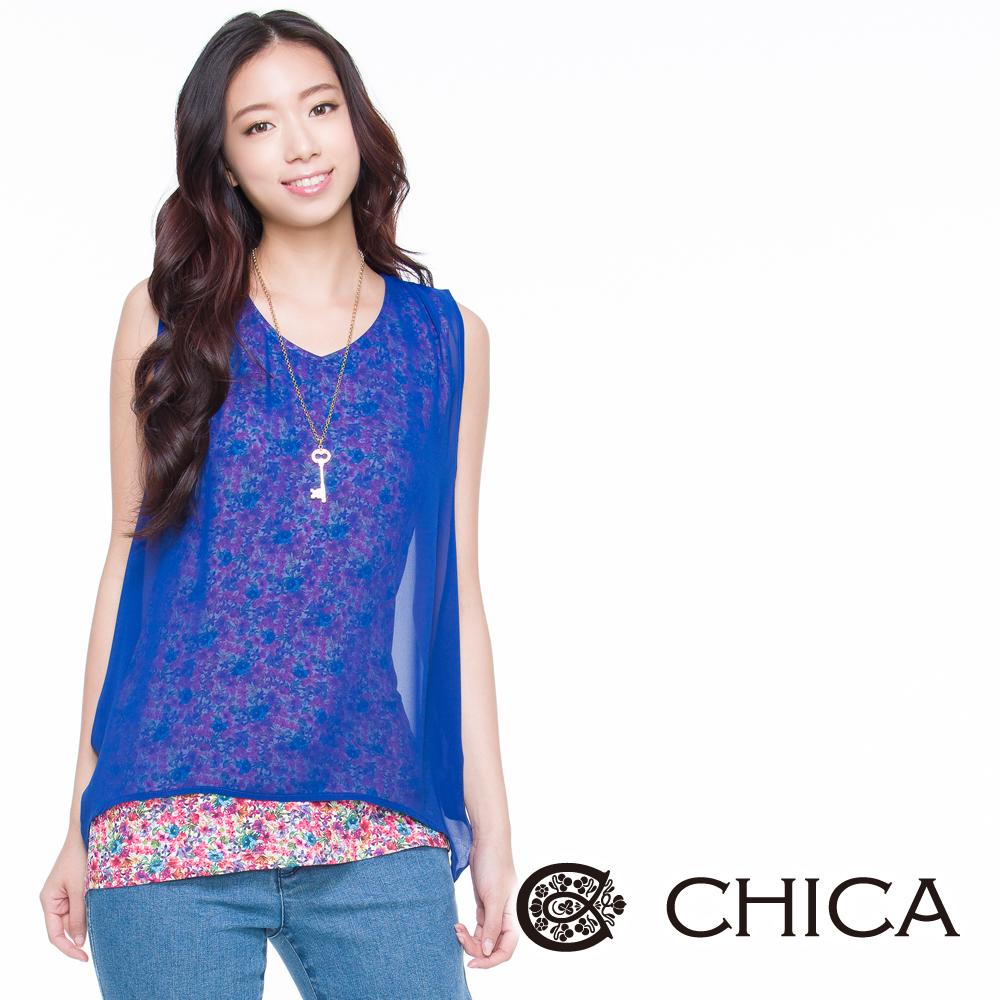 CHICA 雙層小花朵雪紡無袖上衣(2色)