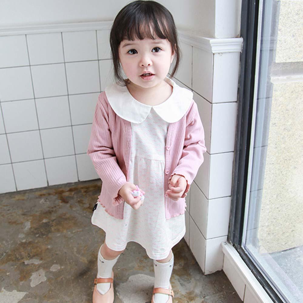 Baby unicorn 粉紅直條壓紋開扣長袖外套
