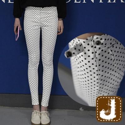 正韓 水玉點點平腹側釦窄管-(白色)100%Korea Jeans