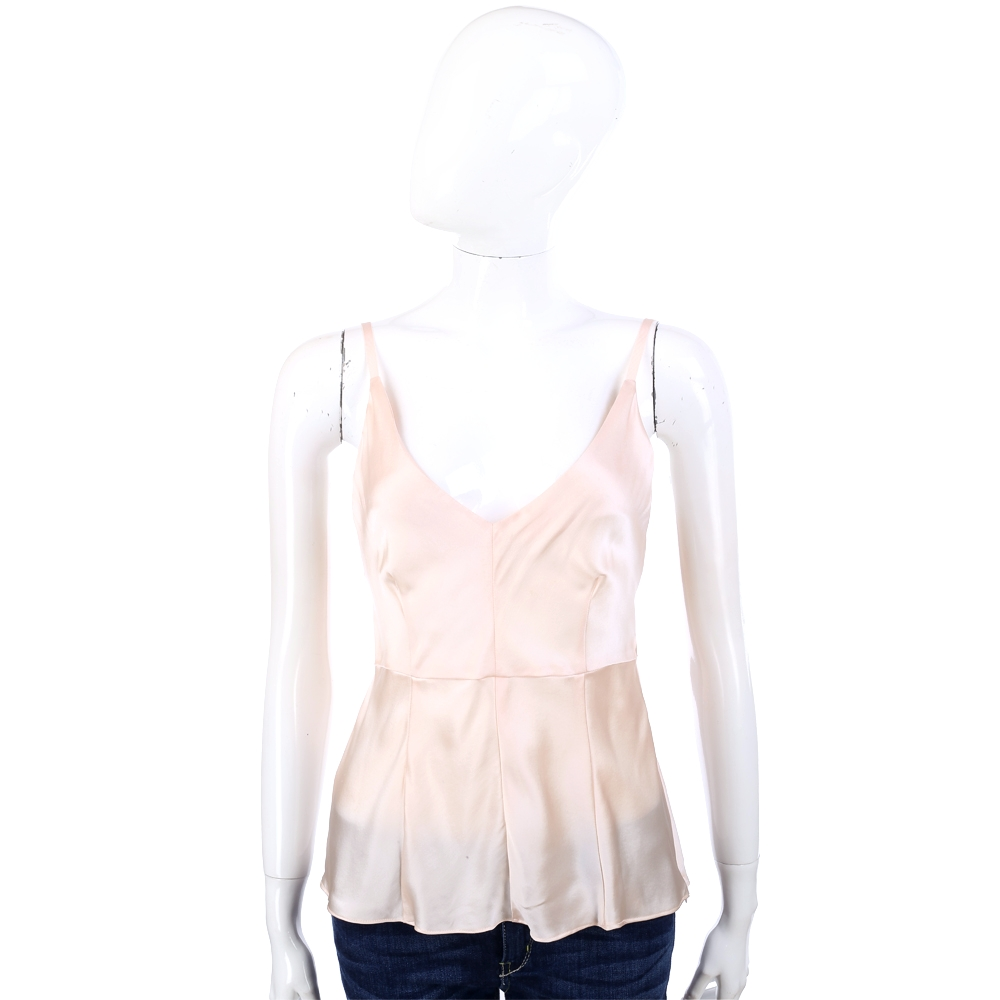 BLUMARINE 粉色緞面V領細肩帶背心 @ Y!購物