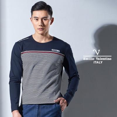 Emilio Valentino 彈性舒適休閒圓領T恤_深藍(15-7V9961)