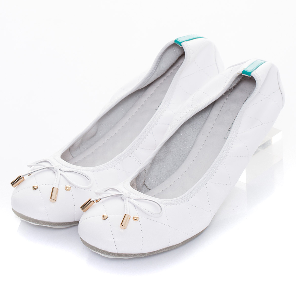 ALLEGREZZA‧真皮彈性膠底羊皮娃娃鞋 白