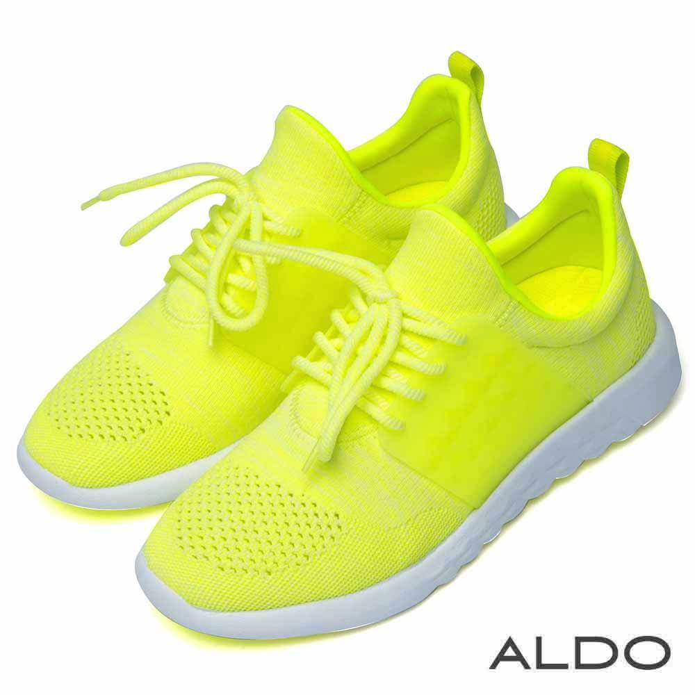 ALDO 原色布面網眼蝴蝶結厚底運動鞋~耀眼暖黃