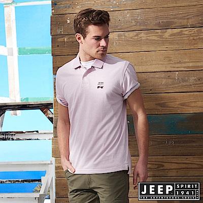 JEEP 品牌經典素面短袖POLO衫-天光紫