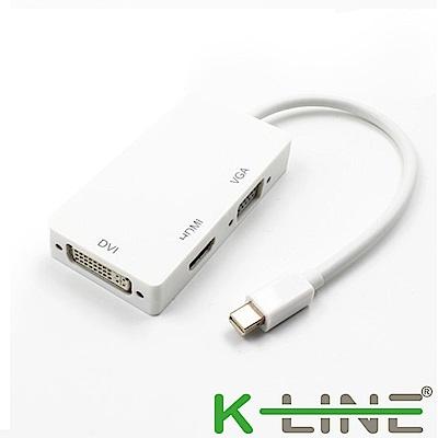 K-Line 三合一視頻轉接線Mini DP to HDMI VGA DVI (橫式/白)