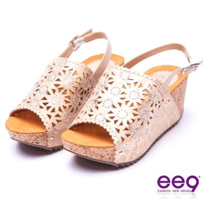 【ee9】花漾繽紛~鑲嵌亮鑽鏤空露趾軟木紋楔形涼鞋*金色