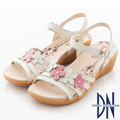 DN-簡約休閒-MIT牛皮花朵坡跟繫帶涼鞋-白
