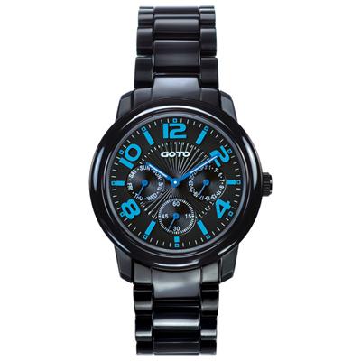 GOTO 躍色純粹時尚陶瓷腕錶-IP黑x藍/39mm