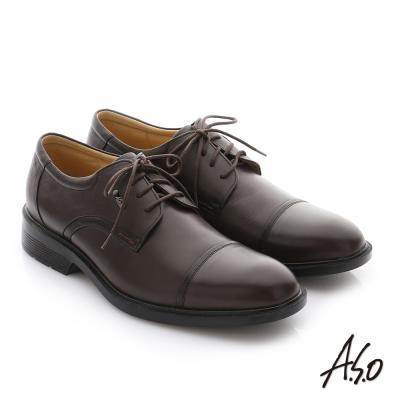 A.S.O 頂級氣墊 油感軟牛皮奈米綁帶紳士皮鞋 咖啡色