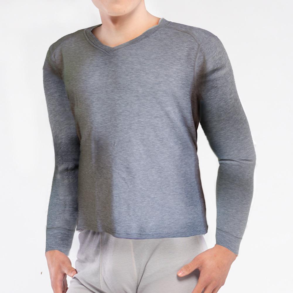 TiNyHouse保暖衣 輕薄保暖款台灣研發保暖纖維 男V領麻灰色