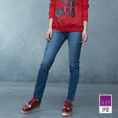 ILEY伊蕾-刮破感珠飾唯美牛仔褲-藍