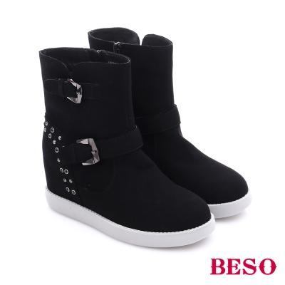 BESO 潮人街頭風 素面水鑽雙扣飾拉鍊內增高短靴  黑色