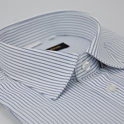 金‧安德森 白底藍條紋窄版短袖襯衫