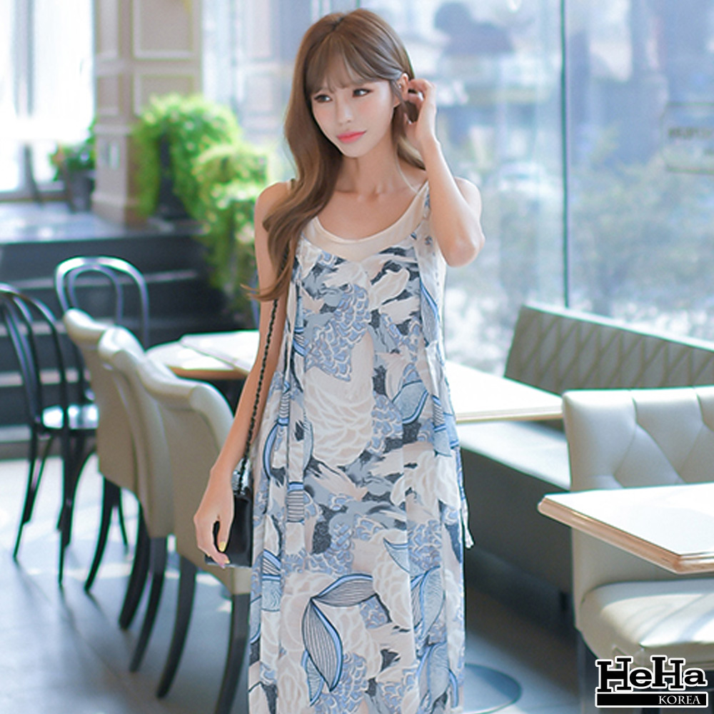 洋裝 兩件式雪紡印花連身開叉長裙-HeHa