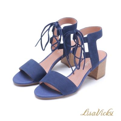 LisaVicky 浪漫一字羅馬交叉綁帶粗跟涼鞋-魅力藍