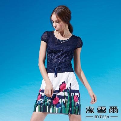 麥雪爾 蕾絲蝴蝶結條紋印花洋裝