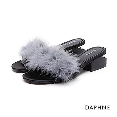 達芙妮DAPHNE 涼鞋-蓬鬆絨毛中空粗跟涼鞋-灰藍