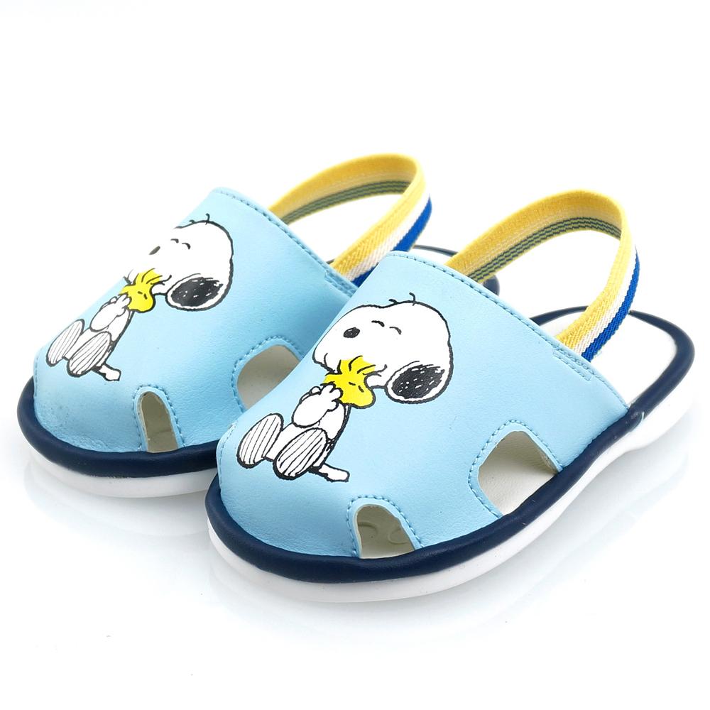 Snoopy史努比 防掉落後拉帶寶寶學步嗶嗶鞋-水(12.5-15.0)