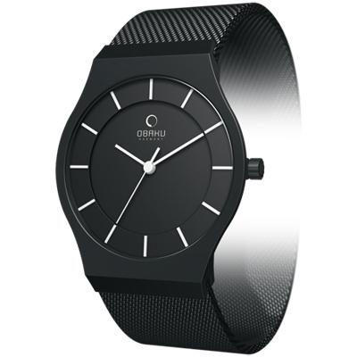 OBAKU 優雅時代極簡風腕錶-IP黑/28mm