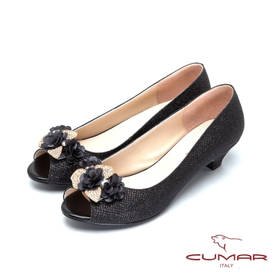 CUMAR-美人水鑽裝飾低跟魚口宴會鞋-黑