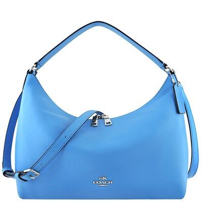 COACH-藍色皮革壓紋斜背-側肩包