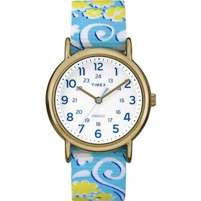 TIMEX 天美時復刻Weekender彩繪花朵系列手錶/一帶兩穿-金框/38mm