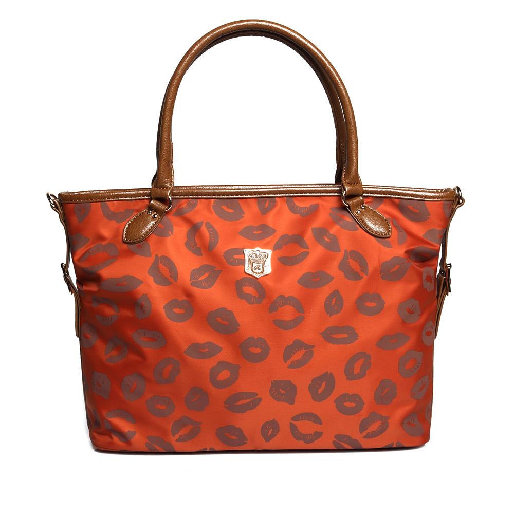 DF Queenin日韓 - 日本熱銷款百搭時尚輕尼龍手提斜背2用包-果橙褐唇