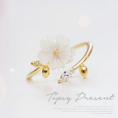 微醺禮物-鋯石-鍍K金-夢幻貝殼小花-開口式-戒指
