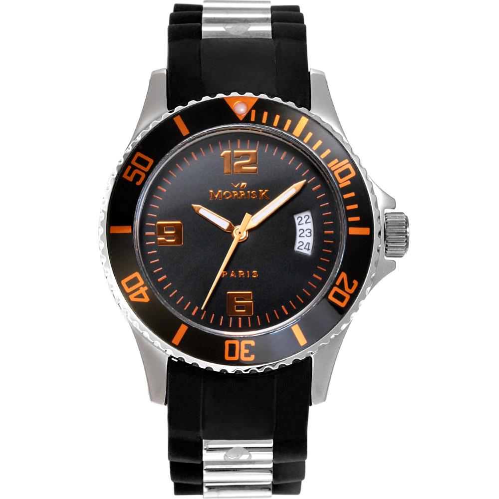MORRIS K 空中飛人運動造型潮流腕錶-黑x橘/40mm