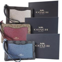COACH 口袋防刮牛皮拼接PVC經典手拿包禮盒組(3色選)