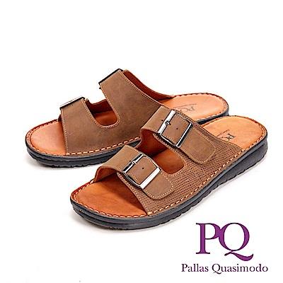 PQ調整式皮釦造型厚底 男拖鞋-棕