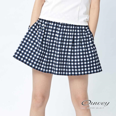 OUWEY歐薇-野餐方格俏麗抽摺褲裙-藍