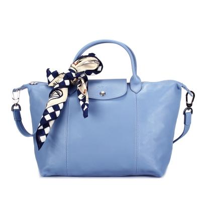 Longchamp Le Pliage Cuir小羊皮短把折疊中型水餃包-薄霧藍-加贈帕巾