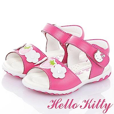 HelloKitty草莓系列 手工鞋牛皮超纖減壓防滑涼鞋童鞋-桃