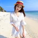 La BellezaV領圈圈刻花荷葉中袖蕾絲鏤空白色棉麻縮腰洋裝