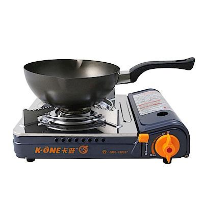 卡旺K1-A002SD雙安全卡式爐+【鵝頭牌】黑金剛雪平鍋(CI-2101)