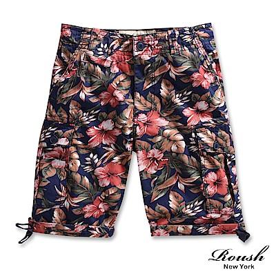 ROUSH (Slim Fit)美式花紋窄管設計雙口袋水洗短褲 (4色)