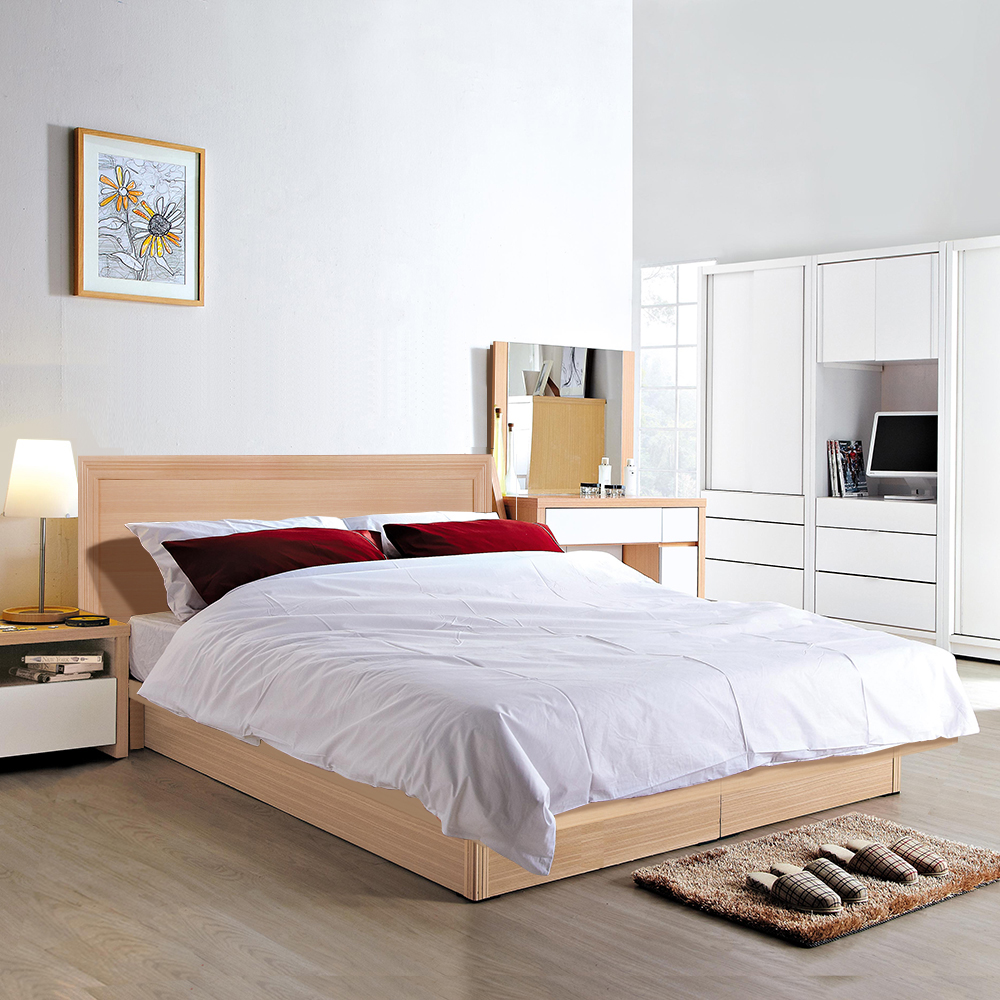 群居空間 羅爵5尺掀床房間組 床頭片+掀床+床墊 白橡色