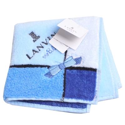 LANVIN en bleu 蝴蝶結品牌LOGO刺繡小方巾(水藍系)