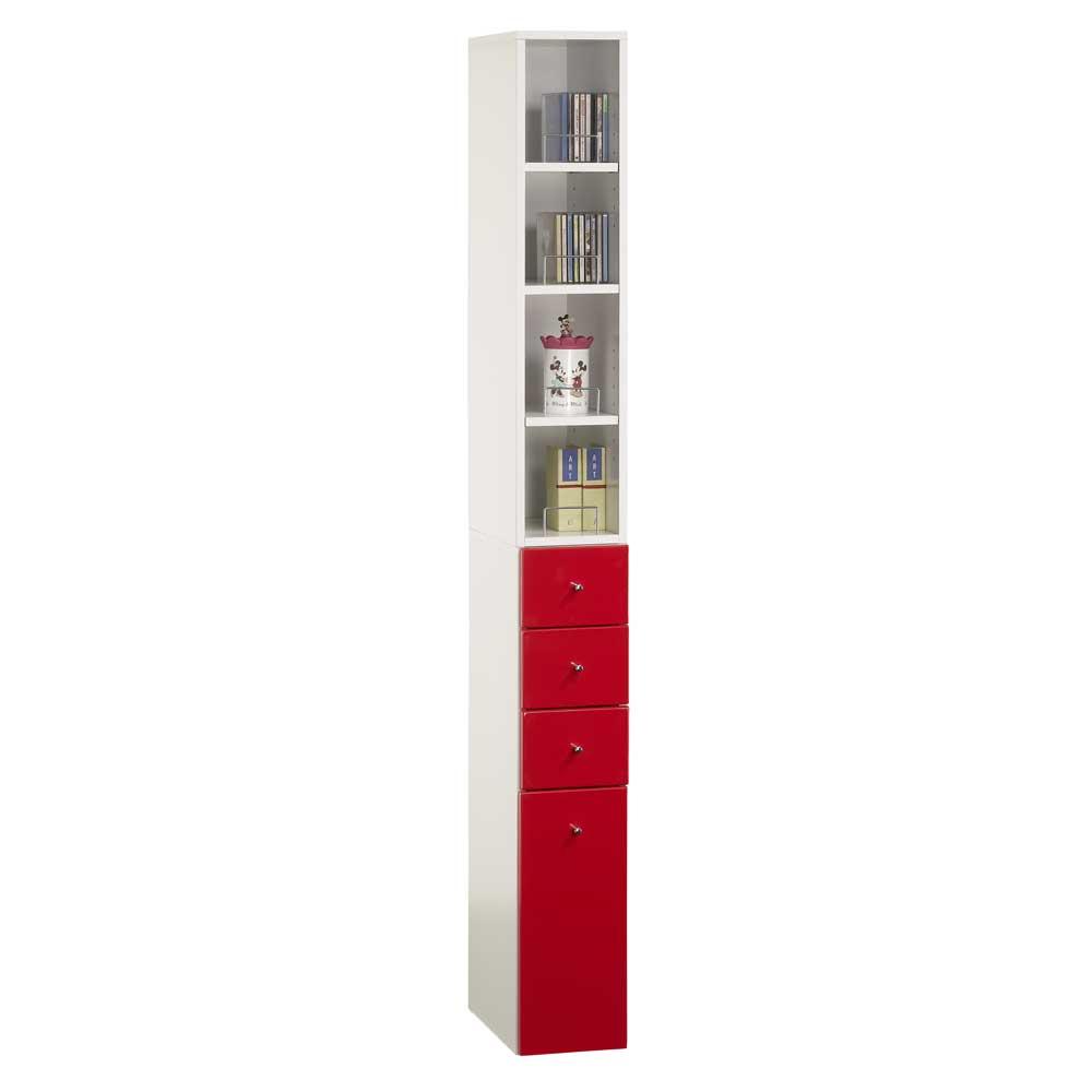 米妮Mini 小細縫/抽屜收納櫃組-紅色