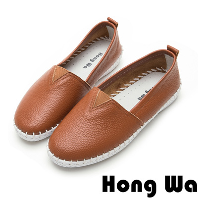 Hong Wa獨家設計荔枝紋牛皮樂福便鞋-櫻桃棕