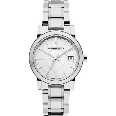 BURBERRY 英倫經典格紋腕錶-銀/34mm