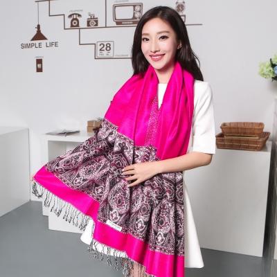Seoul-Show波西風情-純棉編織圍巾-玫紅