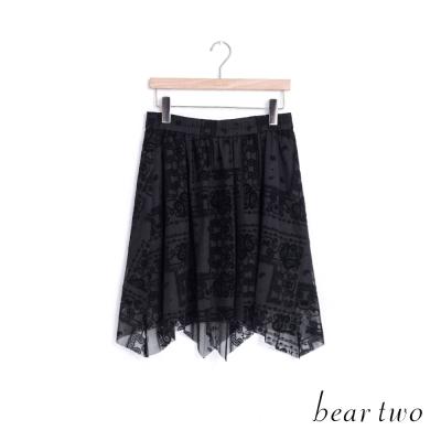 beartwo 佩利斯印花不規則雪紡短裙(二色)