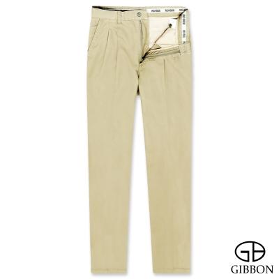 GIBBON 高磅數純棉手感打摺休閒褲‧褐色31-42