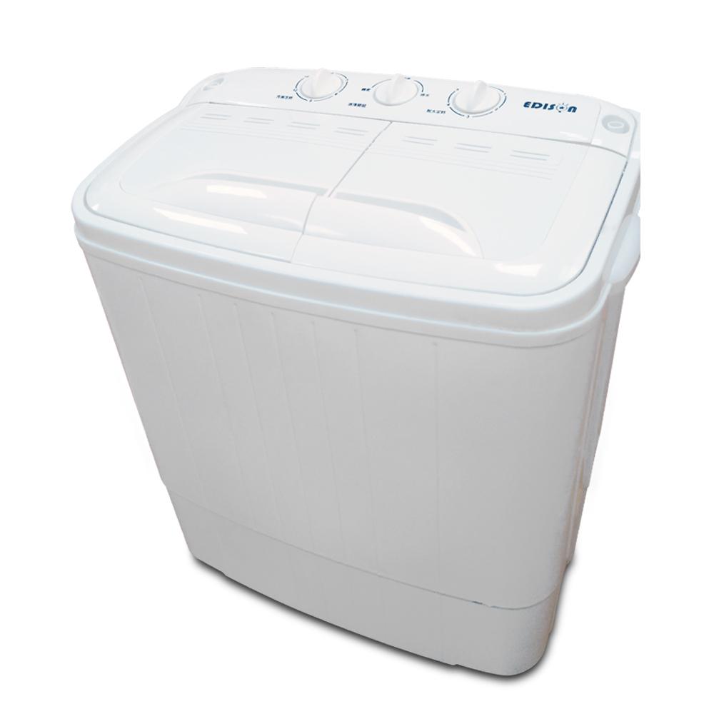 EDISON 愛迪生 3.5KG超大容量洗脫雙槽迷你洗衣機 -簡約白