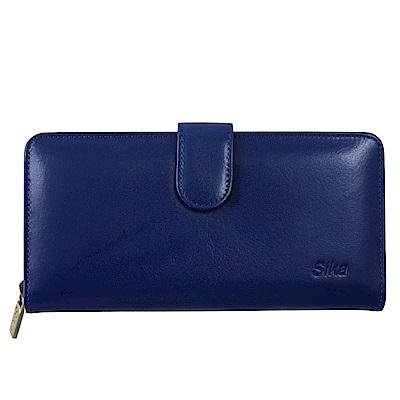 Sika義大利時尚真皮拉鍊壓扣長夾A8251-05亮寶藍